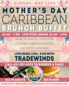 Flyer for Mother's Day Brunch Buffet, Sunday May 12th from 10 AM - 2 PM.