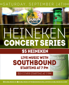 flyer for heineken concert series on september 14th with live music by southbound starting at 7pm