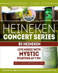 Flyer for Heineken Concert Series on June 15th