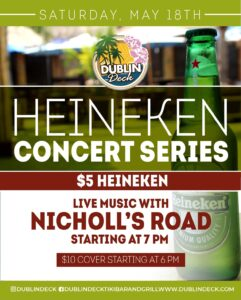 Flyer for Heineken Concert Series with Nicolls Road May 18th