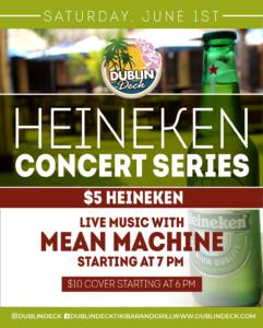 Heineken Concert Series Flyer for Mean Machine on June 1st