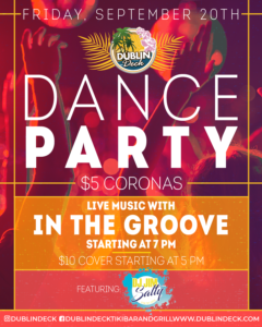 flyer for friday night dance party on september 20th with live music by in the groove starting at 7pm
