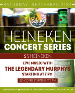 flyer for heineken concert series with live music by the legendary murphys on september 21 starting at 7pm