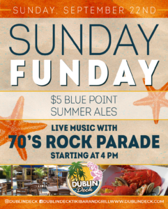 Flyer for Sunday Funday with $5 Blue Point Summer Ales and live music with 70's Rock Parade starting at 4pm on Sunday, September 22nd