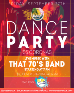 flyer for friday night dance party on september 27th with live music by that 70s band starting at 7pm