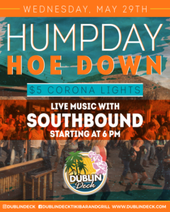 flyer for humpday hoe down with music by southbound on may 29th