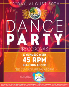flyer for dance party on august 30th with live music by 45 rpm starting at 7pm