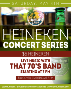 flyer for heineken concert series on may 4th with live music by that 70s band starting at 7pm