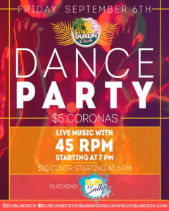 flyer for dance party on september 6th with live music by 45 rpm starting at 7pm
