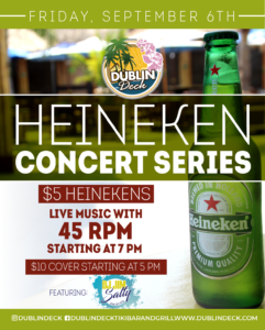 flyer for heineken concert series on september 6th with live music by 45 RPM starting at 7pm