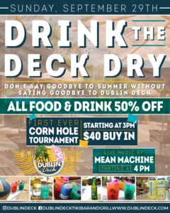 flyer for drink the deck dry on september 29th