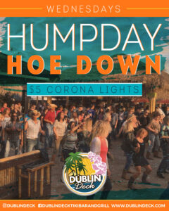 flyer for hump day hoe down every wednesday at dublin deck