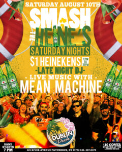 Flyer for Smash the Heine's Saturday Night and live music with Mean Machine
