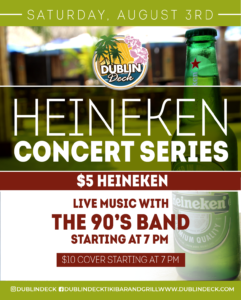 flyer for heineken concert series on august 3rd with live music by the 90s band starting at 7pm