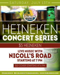 flyer for heineken concert series on july 13th with live music by nicolls road starting at 7pm