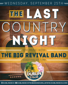Flyer for The Last Country night with The Big Revival band on September 25th at 7pm.