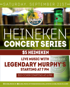 flyer for heineken concert series on september 21 with live music by legendary murphys starting at 7pm