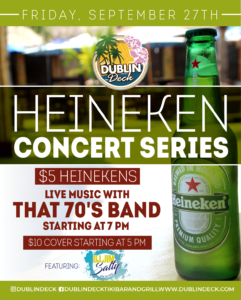 flyer for heineken concert series on september 27th with live music by that 70s band starting at 7pm