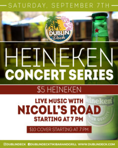 flyer for heineken concert series on september 7th with live music by nicolls road starting at 7pm