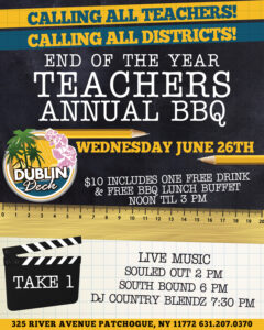 Flyer for End of the Year Teachers Annual BBQ on Wednesday June 26th