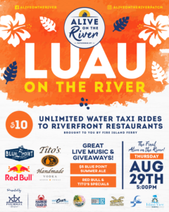 Flyer for Luau on the River Alive on the River event