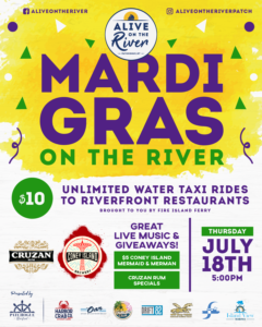 Flyer for Mardi Gras on the River