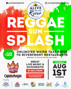 Flyer for Reggae Sun Splash Alive on the River 8/1/19