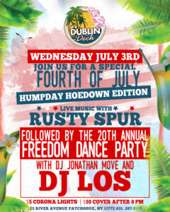 Flyer for 4th of July Humpday Hoedown Edition with live music with Rusty Spur on July 3rd