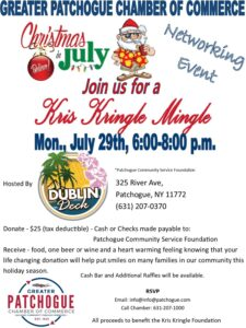 Flyer for Kris Kringle Mingle at Dublin Deck on July 29th at 6pm