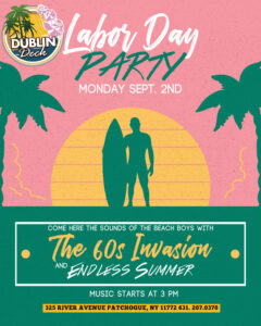 Flyer for Labor Day Party with The 60s Invasion and Endless Summer on September 2nd at 9pm