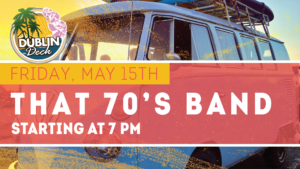 flyer for live music with that 70s band on may 15th at 7pm