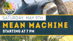 flyer for live music with mean machine on may 9th at 7pm