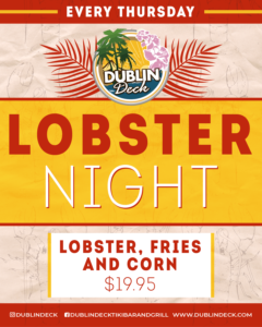 Thursday Lobster Night, $19.95 lobster, fries, and corn
