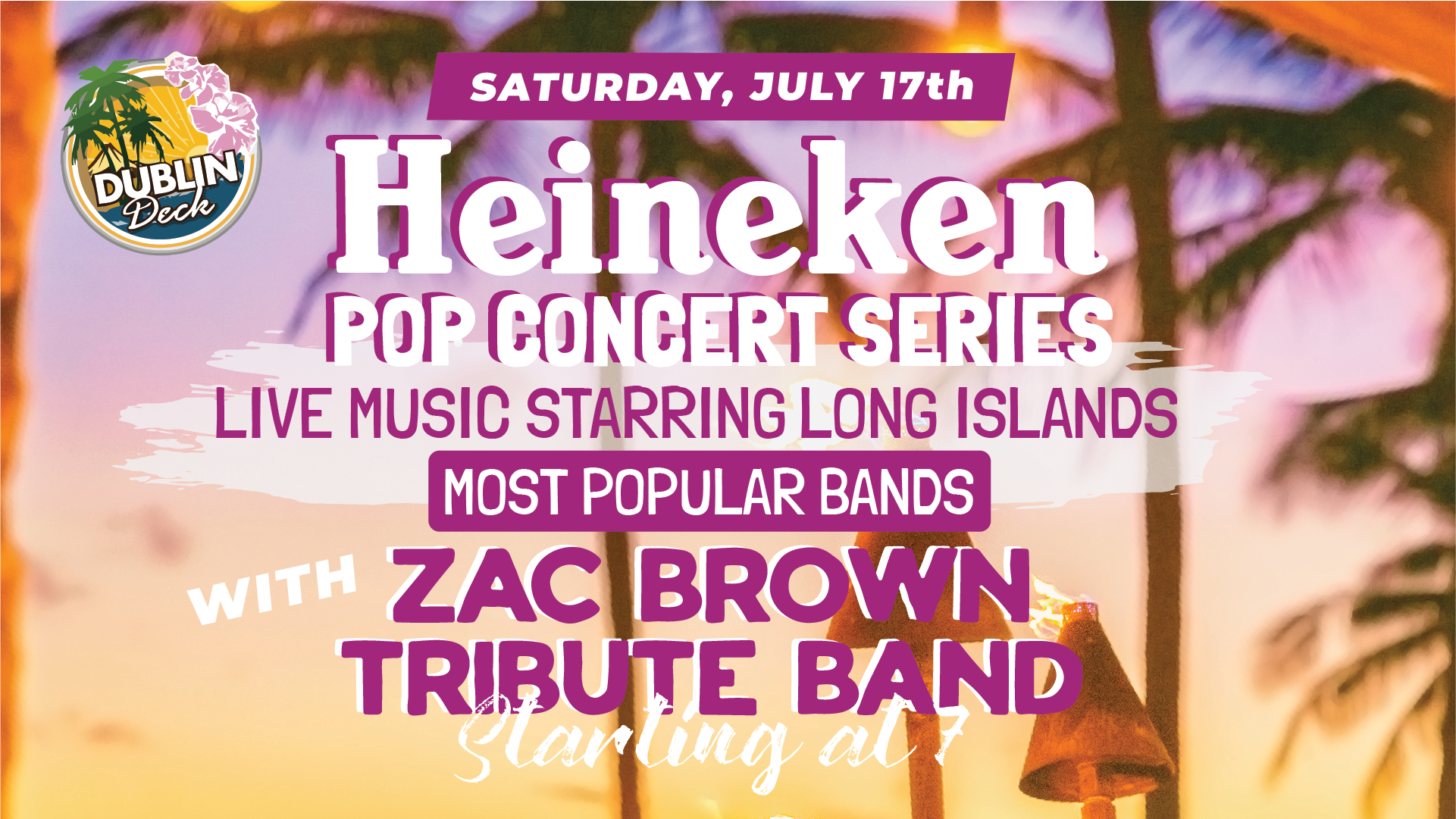 Saturday July 17th with Zac Brown Tribute Band 7:00 PM